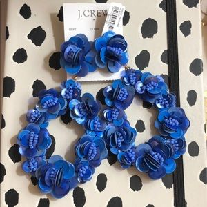 NWT J.Crew blue sequin statement earrings